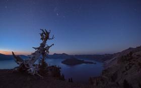 Обои закат, природа, озеро, гора, кратер, сумерки, Oregon