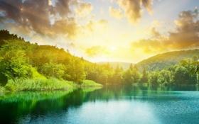 Обои солнце, пейзаж, природа