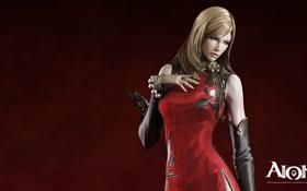 Обои девушка, рендеринг, красное платье, aion, элиос