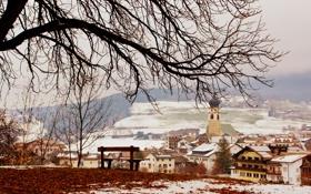 Картинка зима, листья, снег, деревья, дерево, вид, дома