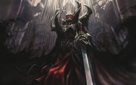 Картинка тьма, меч, доспехи, плащ, Рыцарь