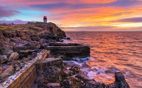 Картинка Pink, Lighthouse, Aberdour Sunrise