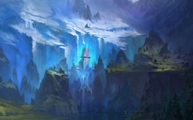 Картинка снег, горы, замок, водопады, Долина