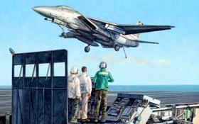 Обои рисунок, арт, палуба, самолёт, взлёт, истребитель-бомбардировщик, американский авианосец