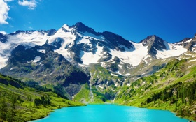 Обои снег, горы, озеро