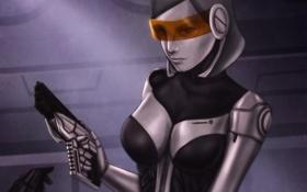Обои девушка, пистолет, оружие, mass effect 3, EDI
