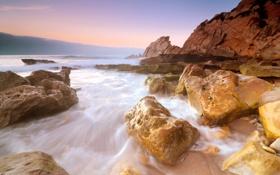 Картинка камни, скалы, Закат, океан, вечер, море, пляж