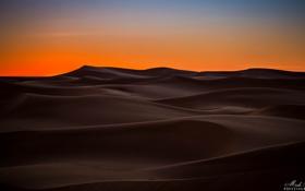 Картинка закат, природа, пустыня, дюны