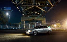 Обои ночь, серебристая, Audi, мост, ауди
