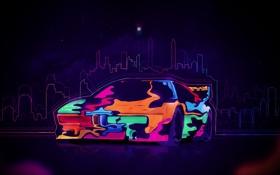 Обои машина, авто, эскиз, разноцветная, красочно