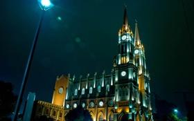 Картинка Город, здание, ночь, фонарь, огни