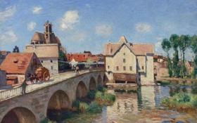 Картинка пейзаж, мост, город, река, картина, Alfred Sisley