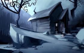 Обои лес, горы, ночь, домик, камни, дерево