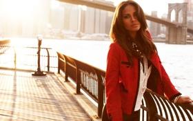 Картинка девушка, солнце, мост, река, волосы, Нью-Йорк, Модель
