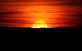 Картинка небо, солнце, облака, закат, горизонт