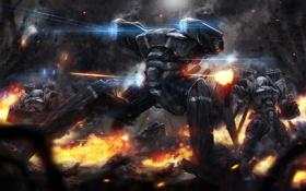 Картинка осколки, огонь, дым, человек, робот, скафандр, арт