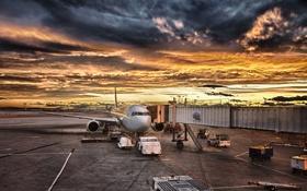 Картинка небо, облака, пейзаж, закат, самолет, краски, colors