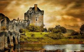 Обои пейзаж, мост, замок