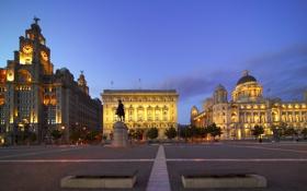 Обои England, evening, architecture, Соединённое Королевство, Великобритания, Liverpool, Ливерпуль
