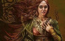 Картинка девушка, украшения, ветер, волосы, арт, бусы, плащ