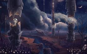 Картинка река, фантазия, ночь, луна, деревья, лампы, арт