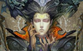 Обои Девушка, символы, когти, ангелы, пирсинг, демоны