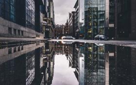 Картинка машины, город, дома, лужа, Glasgow