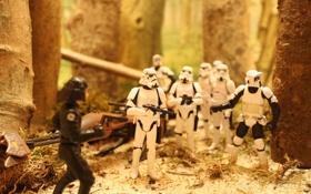 Обои лес, борьба, Star Wars, Stormtroopers, Speeder, Endor, Blaster
