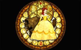 Обои платье, витраж, Disney, персонажи, Белль, Дисней, Красавица и Чудовище