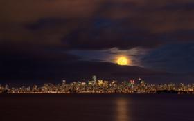 Обои ночь, город, огни, панорама, Downtown, Vancouver
