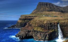 Картинка скалы, остров, водопад, деревня, island