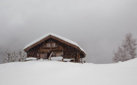 Обои серое небо, жилье, зима, снег, кабина, гроза