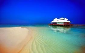 Обои вилла, причал, пляж, вечер, океан