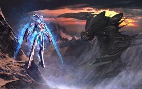 Обои горы, скалы, робот, монстр, костюм, киборг