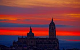Обои сеговия, испания, собор, небо, облака