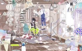 Картинка кот, цветы, комната, собака, аниме, наушники, медведь