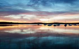 Картинка небо, вода, отражения, лодки, утро, США, Новая Англия