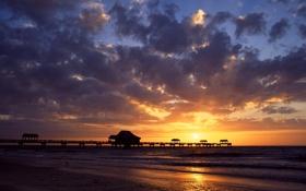 Обои закат, солнце, птица, вечер, море, пирс, хижина