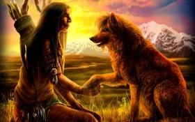 Картинка поле, закат, горы, перья, стрелы, art, индеец