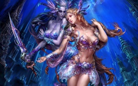 Картинка город, девушки, меч, MMORPG, Perfect world, Forsaken world