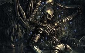 Обои пруд, любовь, крылья, скелет, роботы