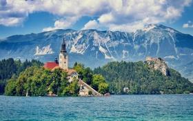 Обои небо, облака, горы, озеро, остров, Словения, Блед