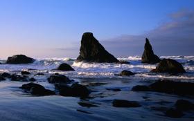 Обои камни, берег, dual screen, небо, волны, море