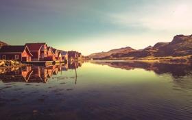 Обои озеро, дома, лодки, холм, lake, hill, houses