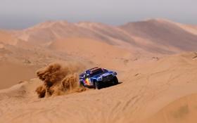 Картинка Песок, Синий, Volkswagen, Пустыня, Гонка, Touareg, Rally