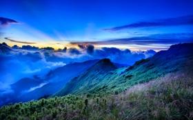 Обои закат, облака, горы, лес, небо