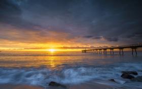 Обои ocean, sunset, cloud, wave