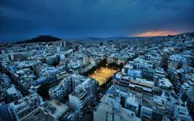 Обои ночь, город, площадка