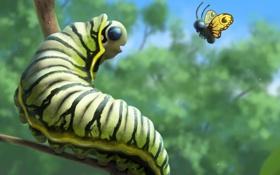 Обои лес, гусеница, бабочка, арт
