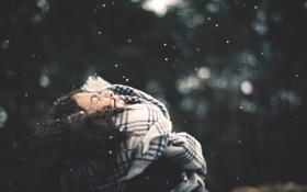 Картинка снег, снежинки, шарф, девочка, боке